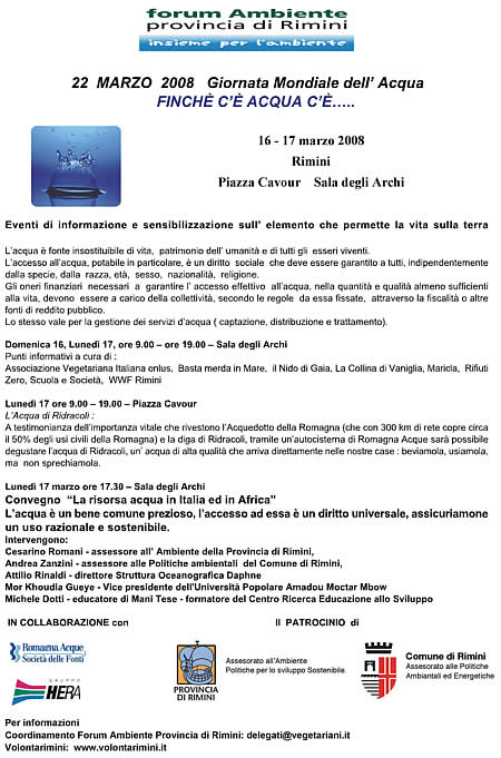 Volantino Giornata Mondiale dell'Acqua 2008