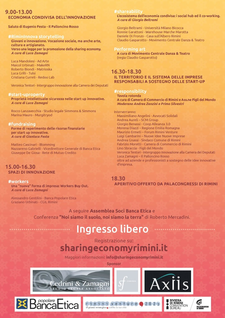 programma sharing economy rimini wake hub imprese responsabili innovative