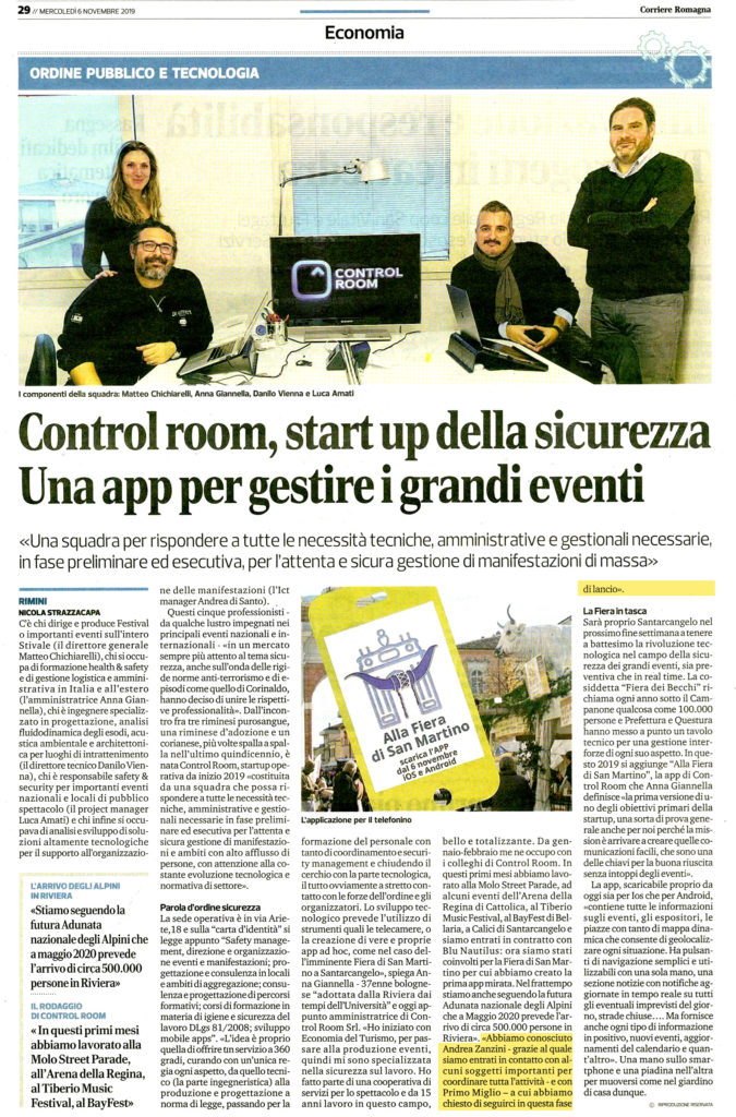 Corriere Romagna 07-11-2019_control room startup